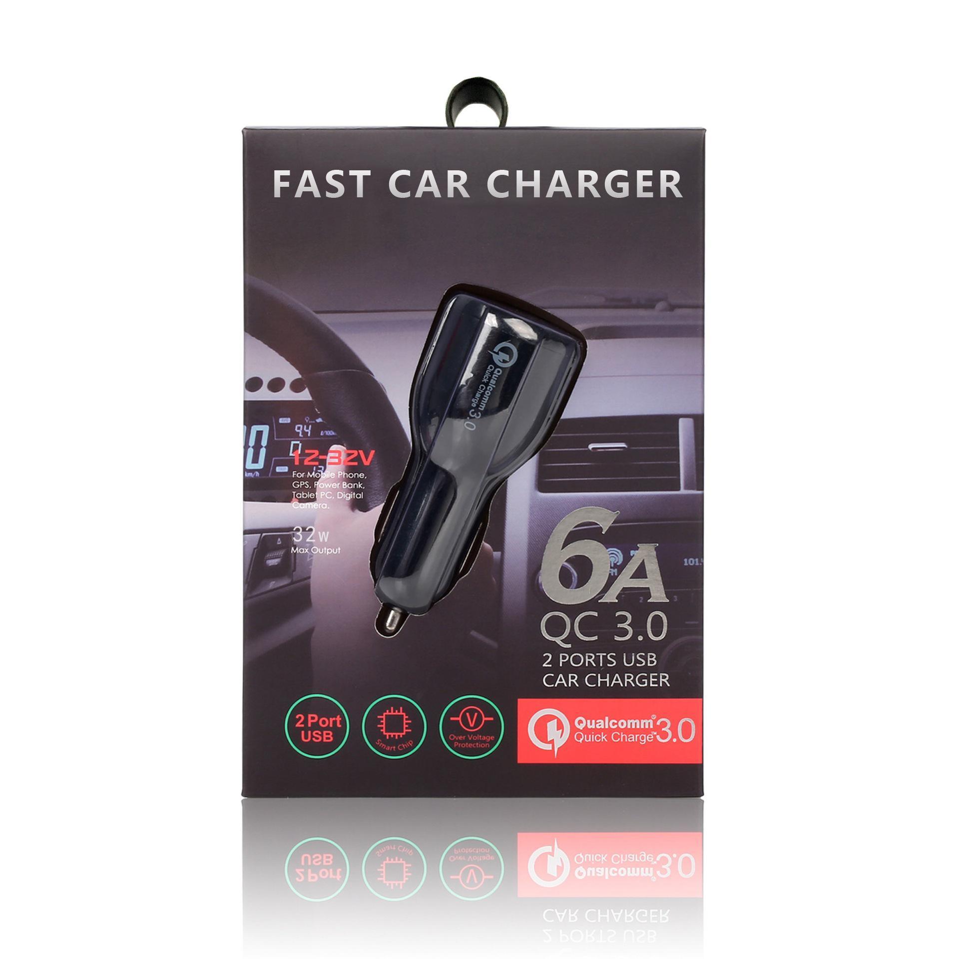 2020 Auto USB-Ladegerät Schnellladung Mobiltelefon Charger 2 Port USB Fast Car Ladegerät für iPhone Samsung Tablet Car-Ladegerät mit Einzelhandelspaket