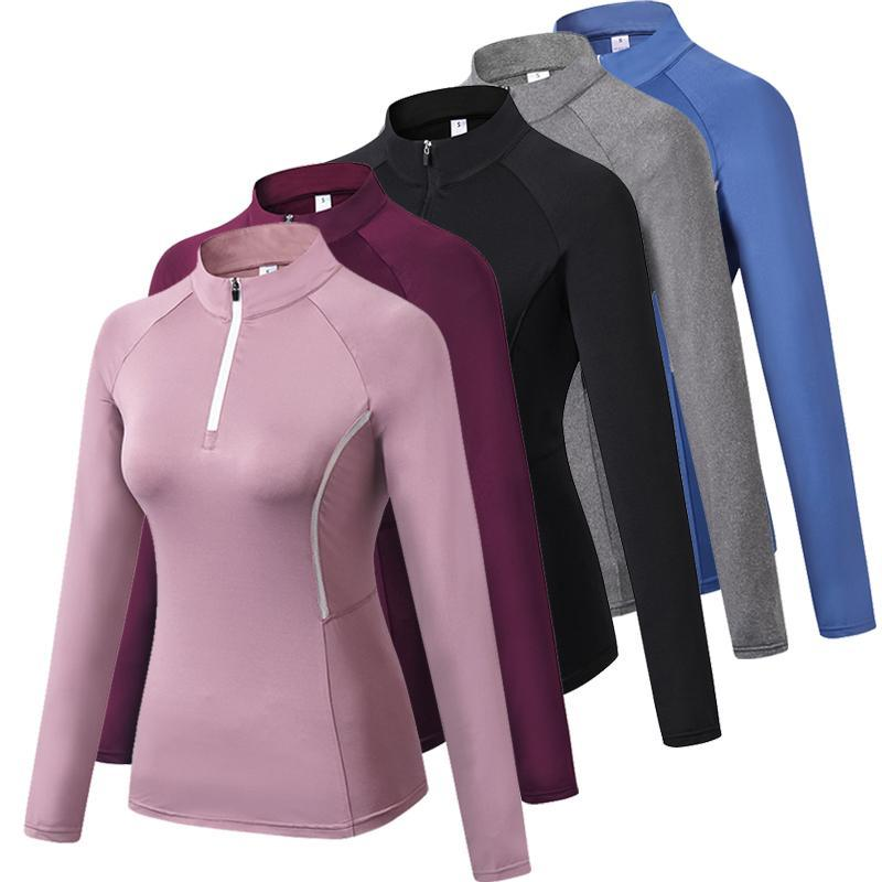 Frauen Laufjacken Langarm Jogging Sweatshirt Yoga Shirt Fitness Langarm Jacke Turnhalle Training Elastisches enges Sweatshirt