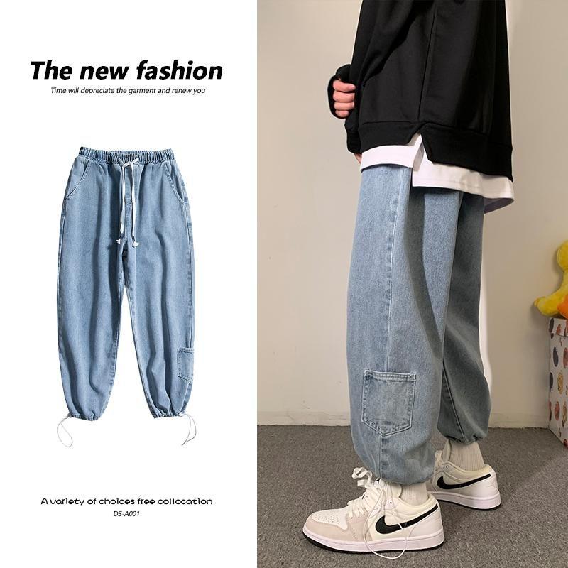 2021 Nuevo Hip Hop Blue Jeans Pantalones para ropa de primavera para hombre Ropa de moda japonesa Moda Baggy Denim Pantalones Adolescentes Harajuku Streetwear