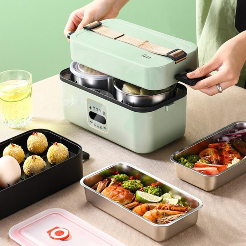 110V Stainless Steel Portable Multifunctional Electric Microwave Heating Lunch Box Single and Double Layer Storage Container