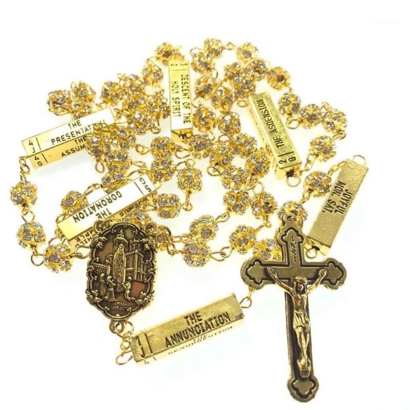 Ожерелья кулон Блаженство 8 мм Золотой Цвет Кристалл Горный Горный Хорбус Бусины Пять Тайеры Розарий Религиозные католические Розарио1
