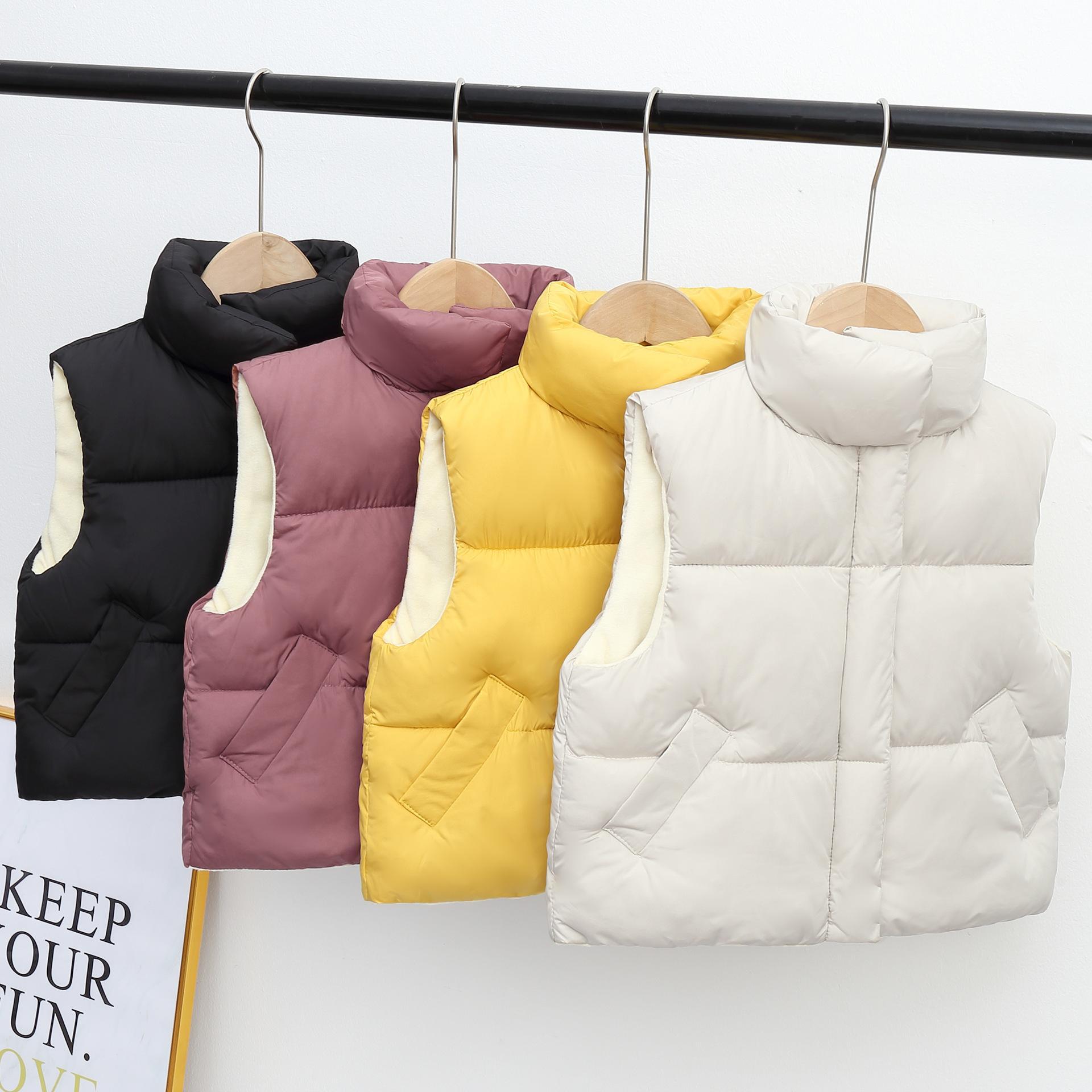 Chicas chalecos para niños Outwear abrigos calientes de algodón grueso niños chalecos otoño invierno niños moda soporte collar traje chalecos 201110