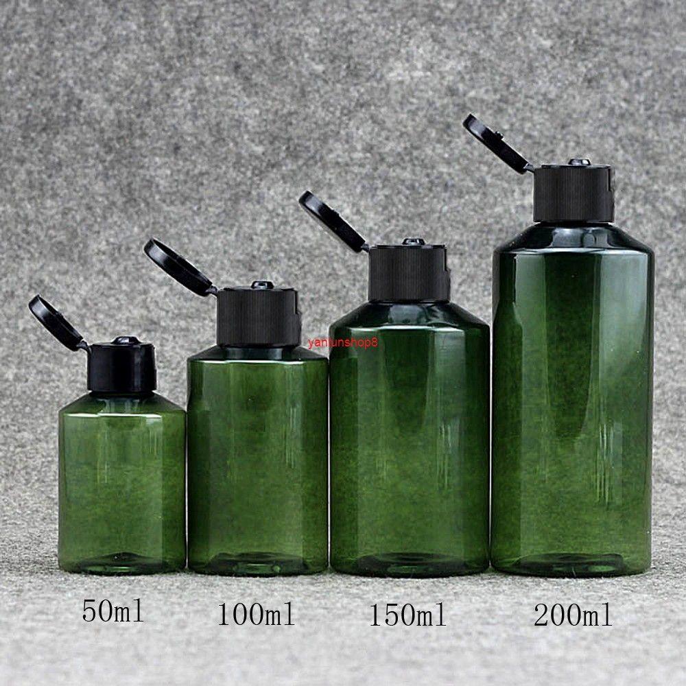 30pcs 50ml 100ml 150ml 200ml 200ml Plastica Cosmetic Cream Bottle Ricaricabile Essence Lozione Filip Cap Vuoto Bottiglie Verde Contenitamente
