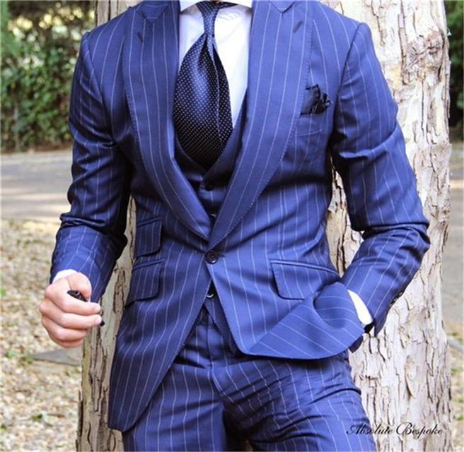 Sıcak Satış Groomsmen Tepe Yaka Damat Smokin Şerit Erkekler Takım Elbise Düğün / Balo / Akşam Yemeği En Iyi Adam Blazer (Ceket + Pantolon + Kravat + Yelek) K848