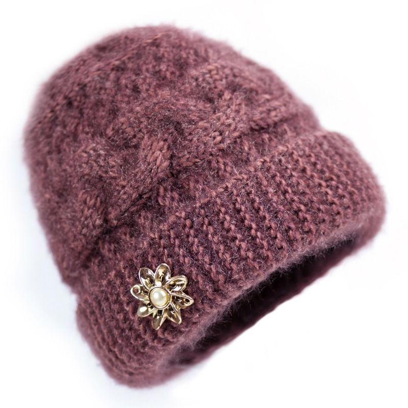 Kadınlar için orta yaşlı ve yaşlı şapkalar Yün iplik sıcak tutmak için sıcak artı kadife annenin bere kış rüzgar geçirmez ve kalınlaştırılmış şapkalar