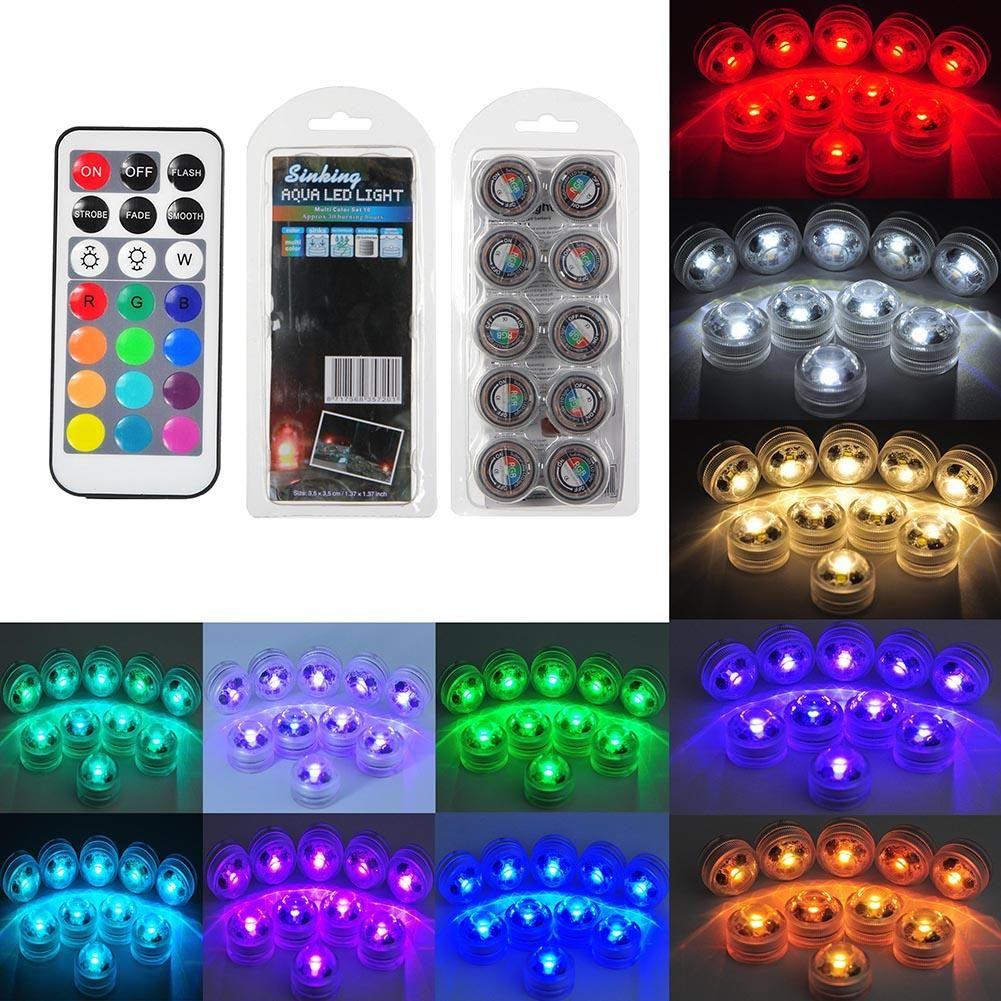 Luz de buceo LED 10 unids + 2 control remoto impermeable IP68 Diamond Aquarium RGB Light Decor Lights para la boda fiesta de vacaciones decoración navideña
