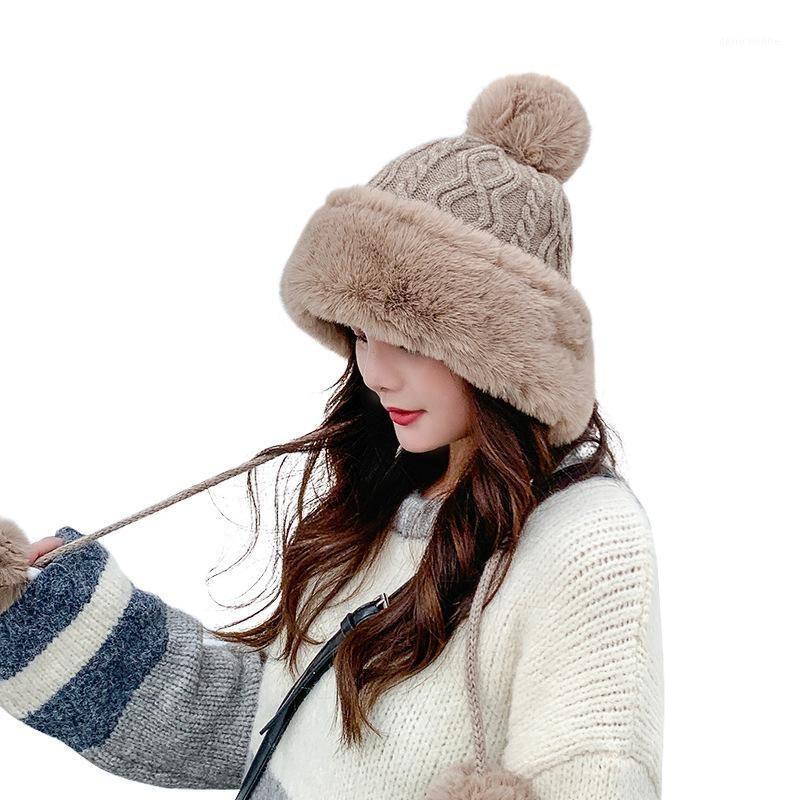 Cappello invernale per le donne Big Hair Ball Plus Velvet Beanie Caps Outdoor Warm Maglia Cappelli a maglia Solid Satin Bonnet Grop shipping1