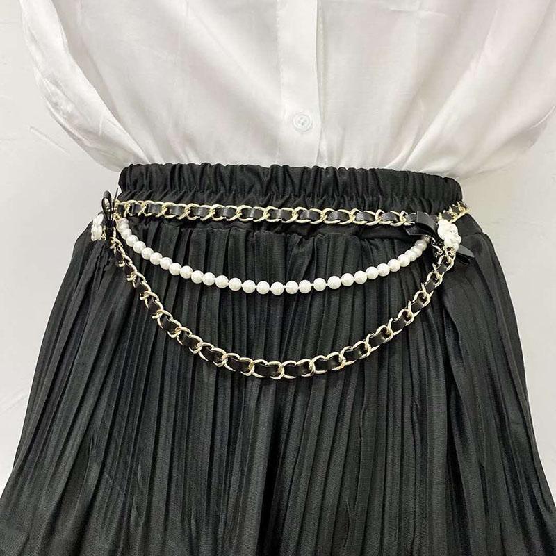 Moda Kadınlar Metal Zincir PU Deri Kemer Çiçek Inci Uzun Yüksek Bel Cummerbunds Elbise için