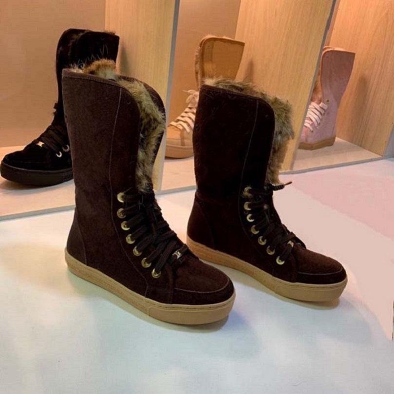 Toptan-Yüksek Kalite Kadın Çizmeler Kar Botları Kürk Bir Ayakkabı Rahat Ayakkabılar Kış Moda Çizmeler Perçin Kutusu Ile Sıcak Ayakkabı Tutun AB: 35-42