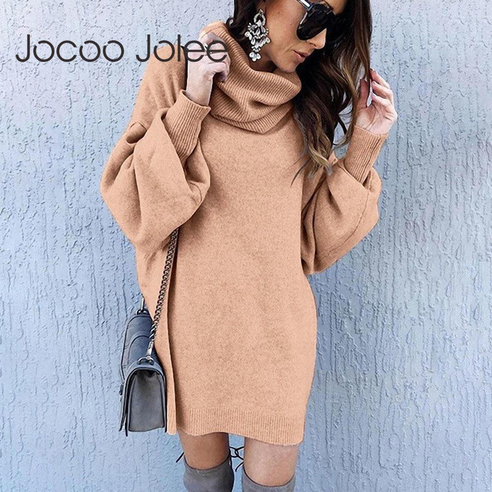 Jocoo jolee elegante vestido de punto otoño invierno tortuga de tortuga linterna manga larga vestido suelto vestido vintage sólido mini vestido 201203
