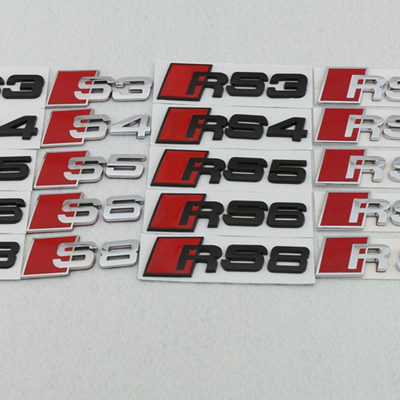 Autocollants de voiture Numéro de lettre de voiture de voiture métallique pour Audi RS3 RS5 RS5 RS6 RS8 RS8 RS8 STOCKLING Sticker 3D