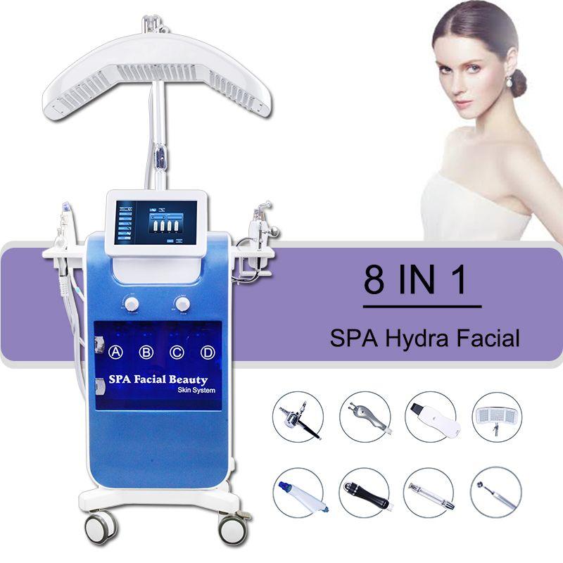 Machine faciale HYDRA approuvée par la FDA Hydro Dermabrasion Rétrécissement des pores Microcurrent Bio Ascenseur à l'oxygène Jet Peeling Led PDT Acne Traitement