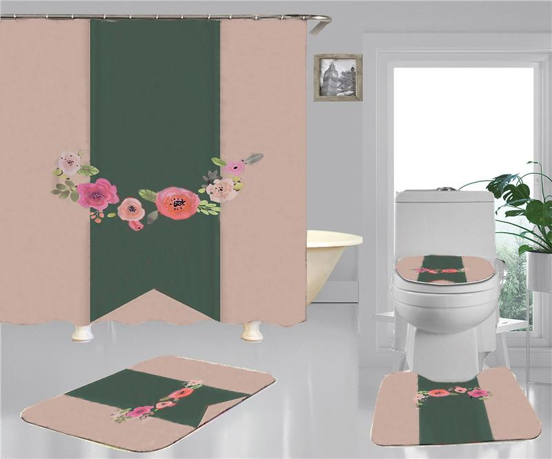 As cortinas do chuveiro de impressão selvagem conjuntos de alta qualidade Quatro peças do banheiro anti-espigante antiderrapante desodorante desodorante esteiras de banheiro devem
