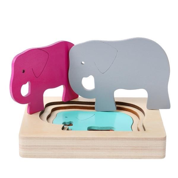 2020 Novas Crianças Brinquedos Animais Caixa De Animais Puzzle Multicamada Jigsaw Puzzle Bebê De Madeira Brinquedos Criança Primeiro Presente Educacional Q1217