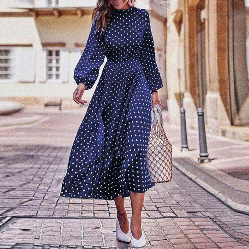 Newest Hot Fashion Women's Casual Autumn Dress Round Neck Polka Dot Long Sleeve Irregular Hem Comfortable Mid-Length Dress