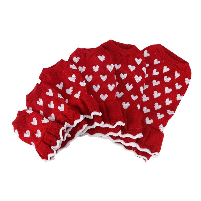 الوردي شكل قلب الكلب الملابس الدافئة الحمراء سترة مهرجان سعيد السنة الجديدة الحيوانات الأليفة سترة الخريف الشتاء تنورة جودة عالية 16BX M2