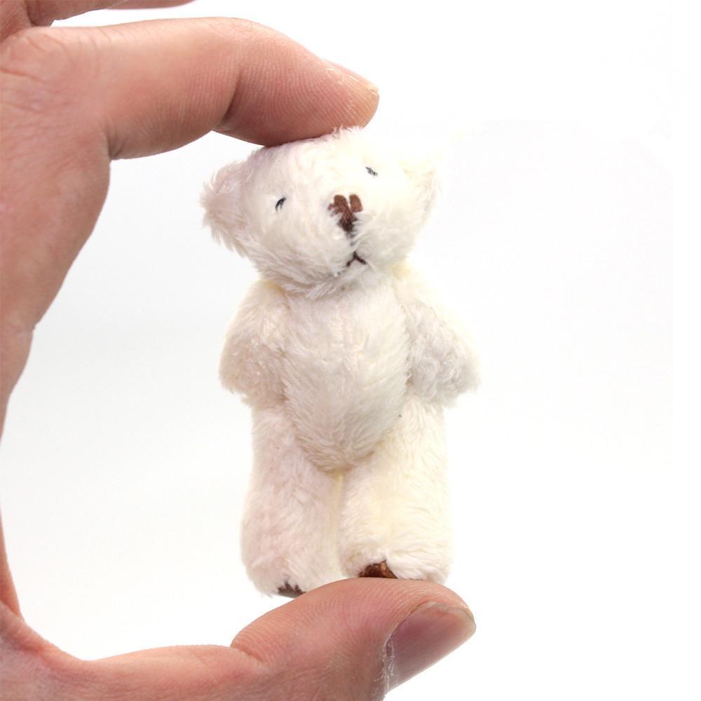 100 stücke 6.0cm Gelenkte Mini Teddybären Plüschspielzeug Fuß mit Leder Y1216