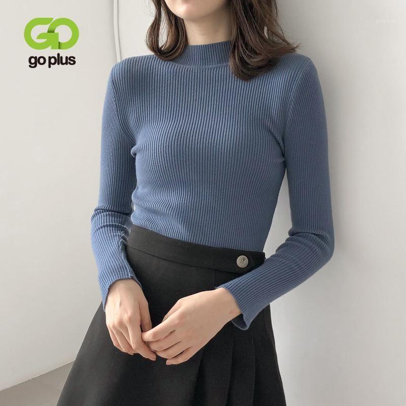 Женские свитеры Goplus Turtleneck сплошной вязаный женский свитер толстый теплый с длинным рукавом джемпер 2021 зимние тонкие пуловеры тянуть FEMME1