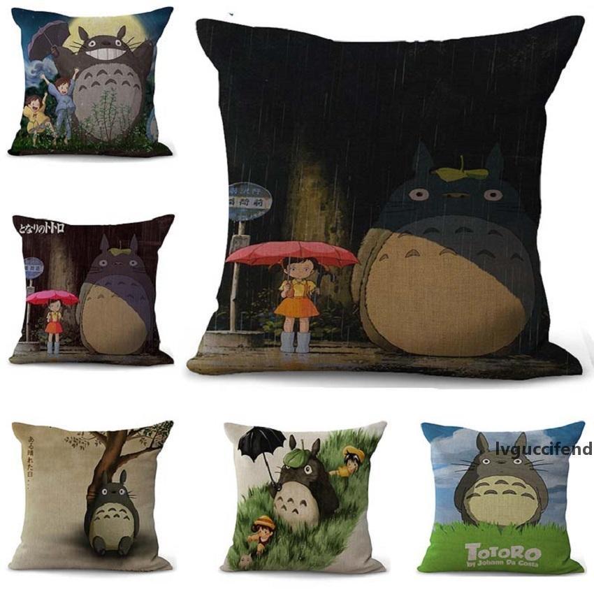Cartoon totoro Pillowcase Bohemian bed animal Pillowcover Cotton Linen Ethnic car Pillow Cover Bedroom sofa Throw Cushion Pillow case 100g