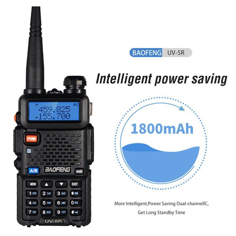 BAOFENG UV-5R UV5R WALKIE TALKIE DUAL BAND 136-174MHZ 400-520MHz Two Way Radio Trasmettitore con Auricolare gratuito della batteria 1800mAh (BF-UV5R)