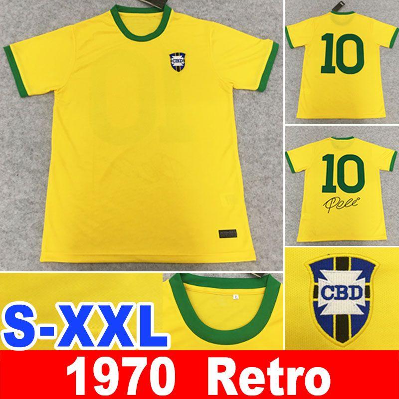 1970 retro Pelé PELE 브라질 # 10 펠레 펠레 CLASSIC 카를로스 호마리우 호나우두 호나우딩요 축구 유니폼 XXL camisa 드 Futebol의 복고풍 1998 bele 1970 유니폼