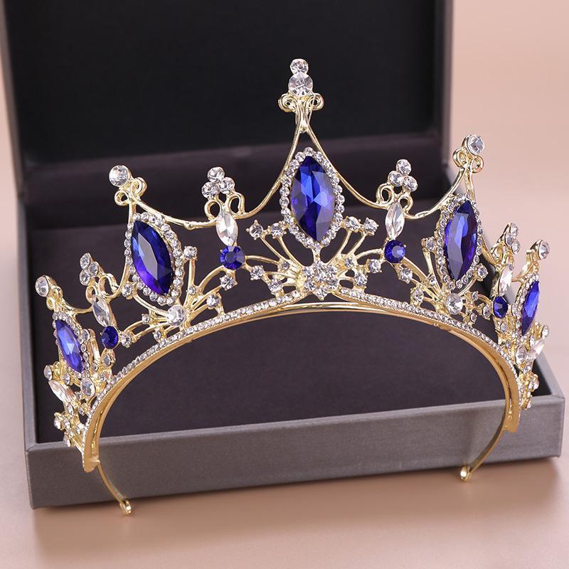 Vintage Headpieces Bleu Crown Alliage Bridal Tiara Baroque Queen King Crown strass Tiara et bon marché