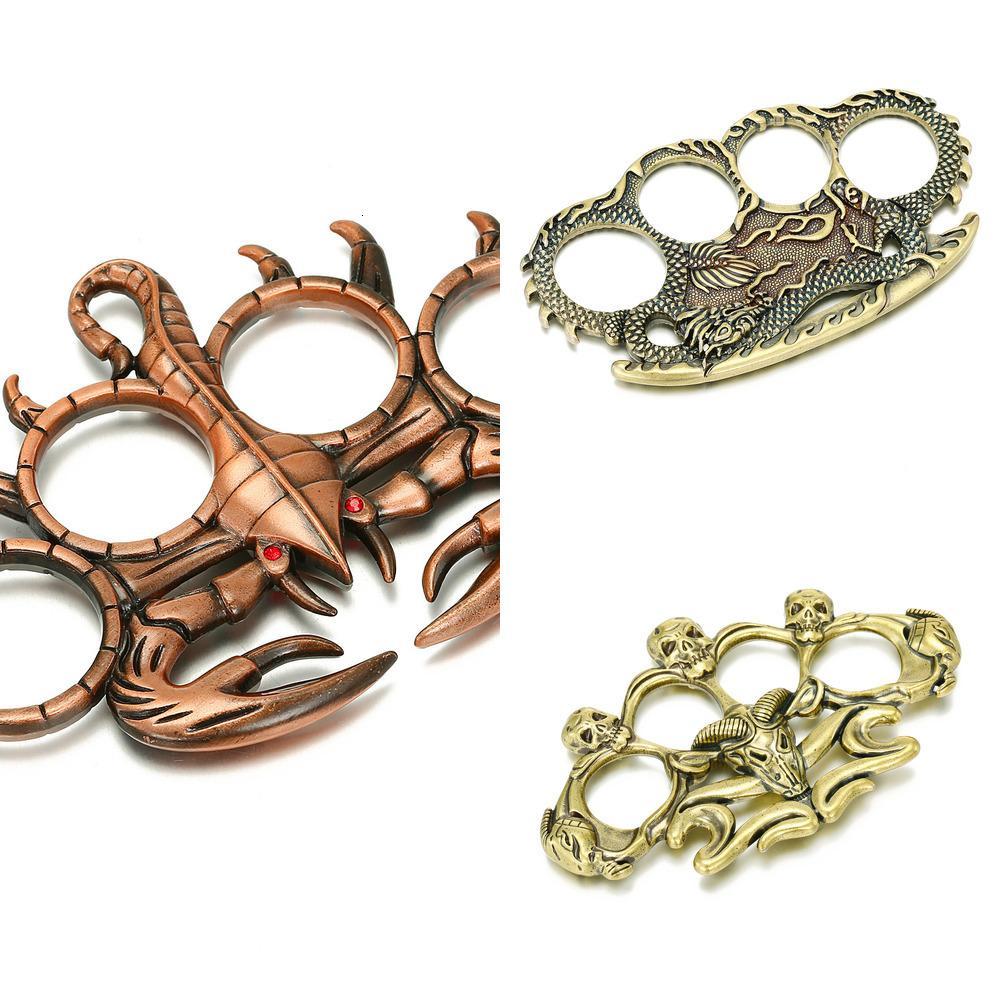 Self Defense Finger Tiger Joint Ring Game Ring Bronze Dragon Hand Support Metal Bracelet 03n6