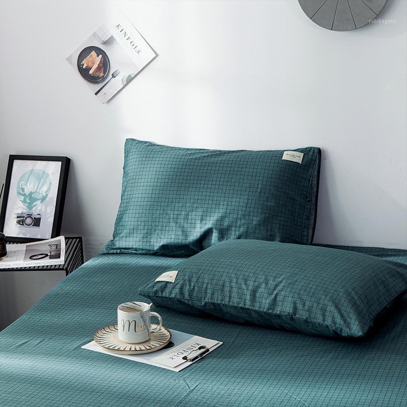2 unids 100% algodón Funda de almohada de color sólido Cubierta de almohada Caja de almohada Juego de ropa de cama Caja de cojín decorativo Caja 48 * 74cm1