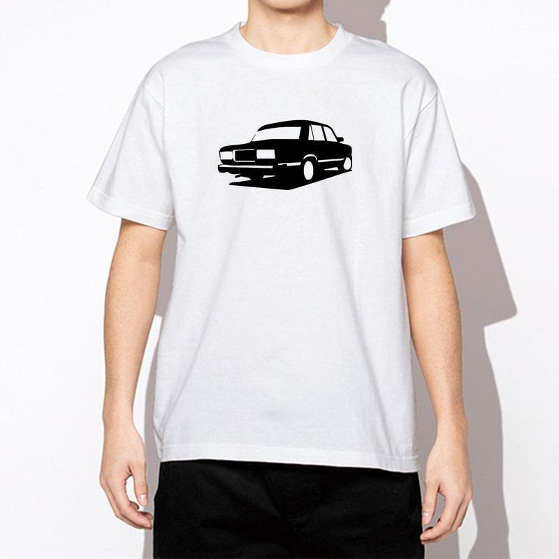 Camisetas para hombres Camiseta de hombre de algodón blanco Vintage impresión de coche casual camiseta de manga corta para hombres Hip Hop Streetwear Man Ropa1