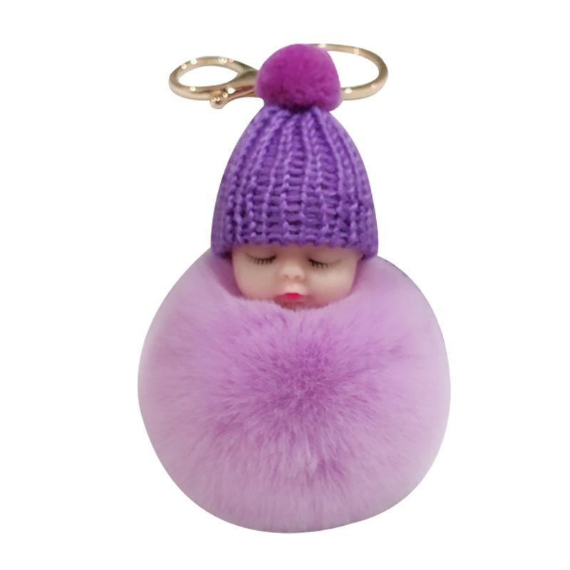 달콤한 푹신한 퐁퐁 잠자는 아기 열쇠 고리 가짜 토끼 모피 pom pon 니트 모자 아기 인형 키 체인 자동차 열쇠 고난 장난감 유행 선물