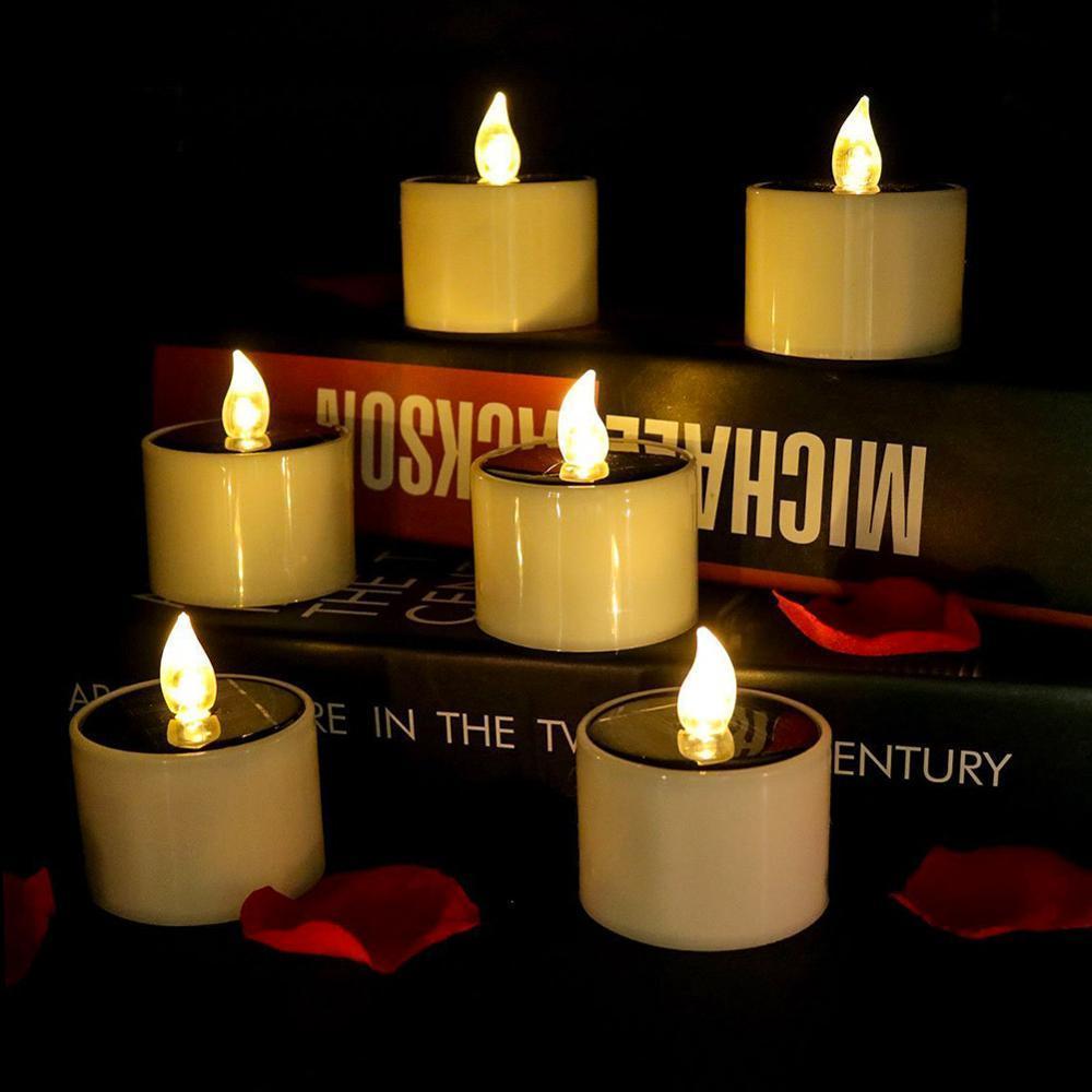 6 / wasserdichte Solarbetriebene LED-Kerzen Flammenlose elektronische Umwelt Tee Lichter für Home Party Dekorieren Neue LJ201018