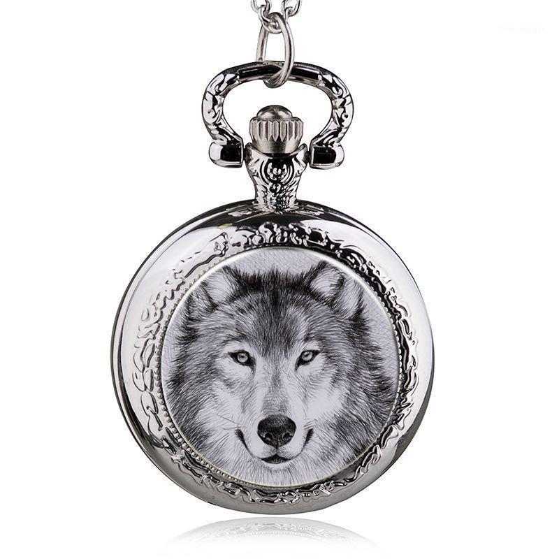 Neue Mode Wolf Quarz Taschenuhr Anhänger Halskette Männer Watch Women1