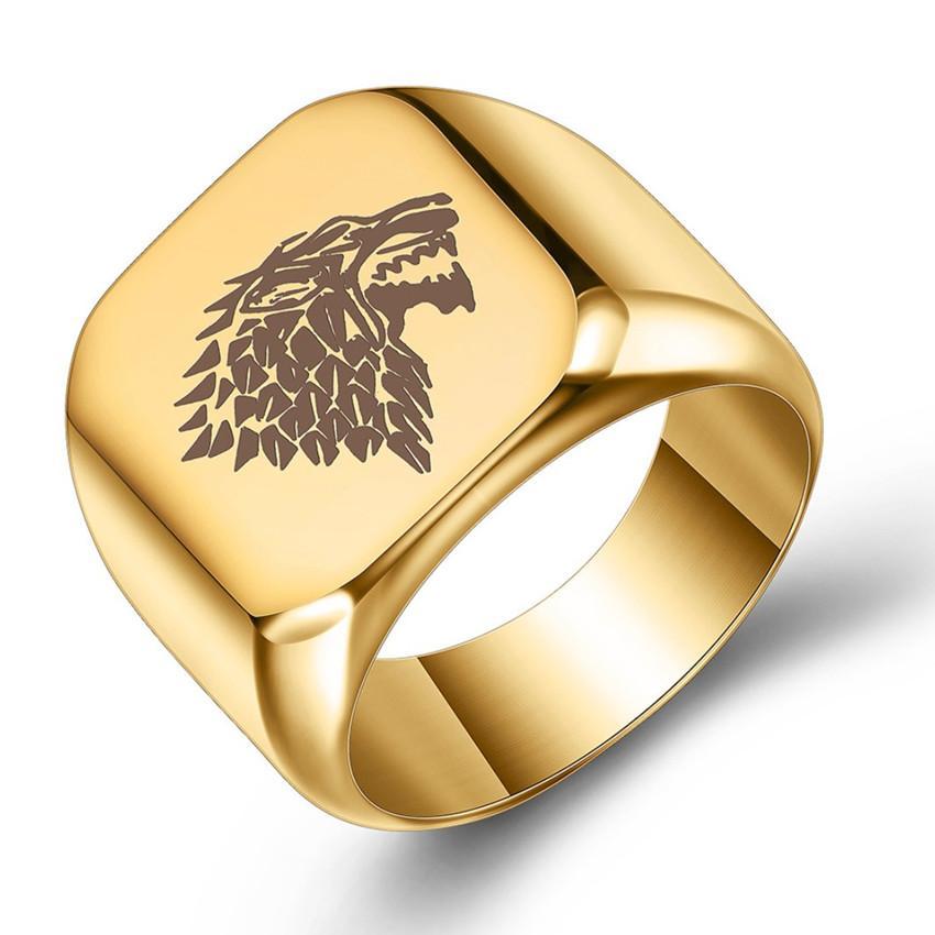 Venta al por mayor 10 PCS Acero inoxidable Muchos colores Metal Forma geométrica Anillo de dedo para regalo de fiesta Lobo Joyería
