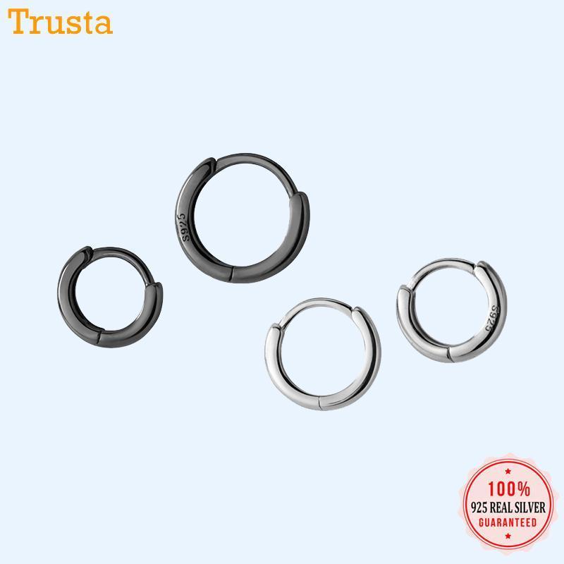 TrustDavis Personnaliser Fabriqué 100% 925 Sterling Sterling Gold Suffisant Hoop Boucle d'oreilles DA432