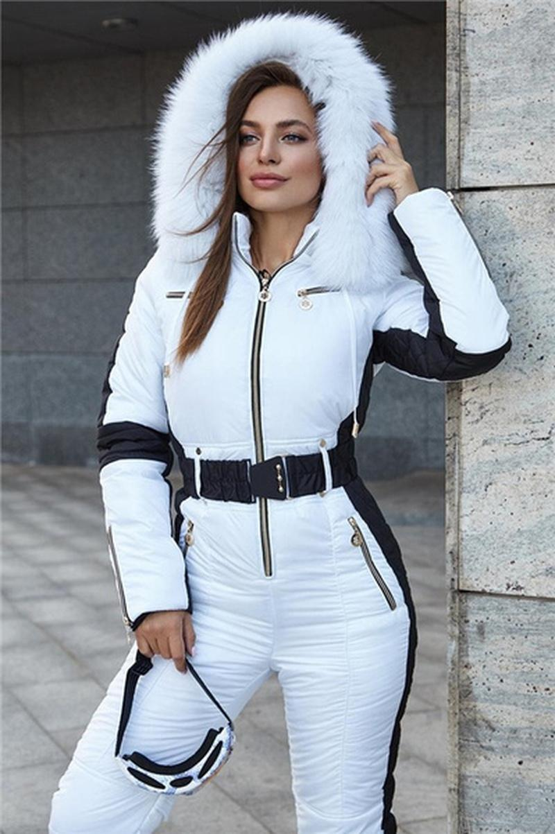 Комбинезон женских трексудов белый с черной вставкой лыжные зимние костюмы удобные с капюшоном из искусственной меховой куртки плюс размер теплые женские брюки костюмы
