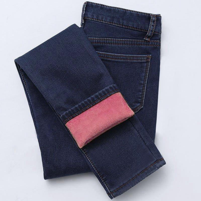 Pantaloni di jeans del denim della femmina della femmina della femmina della matita di modo della vita alta della vita alta della vita delle donne per i jeans invernali di autunno