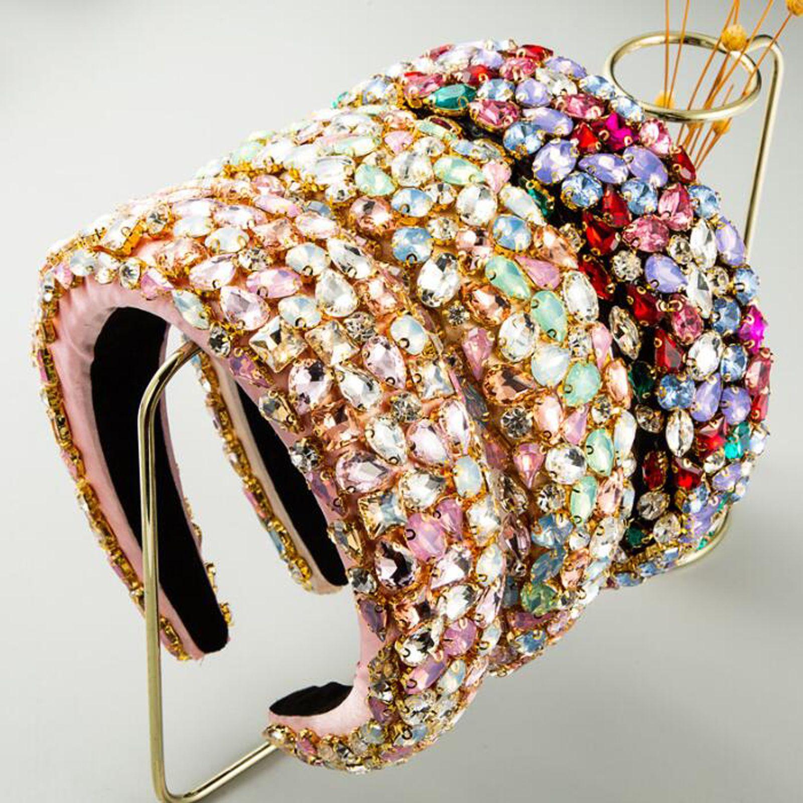 NOUVEAU Bandeau de Femmes Femmes Luxurious Bande baroque Baroque Cristaux colorés-Inlaid Sponge Strass Accessoires pour cheveux