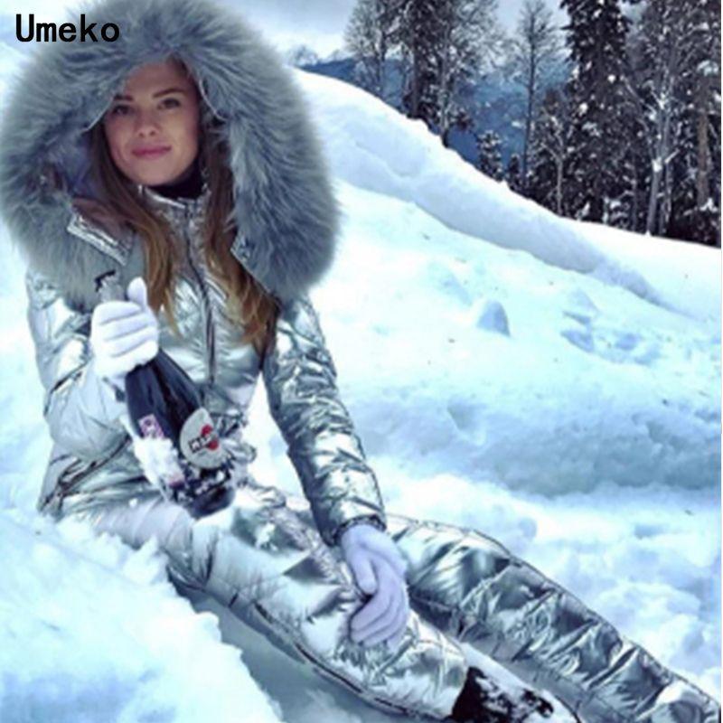 Umeko Fashion Hiver Jumpseau à capuche à capuche Parka Coton rembourré Chaud Sashes Ski Ski Share Zipper One Piece Femmes Femmes Chacksuits Y200106