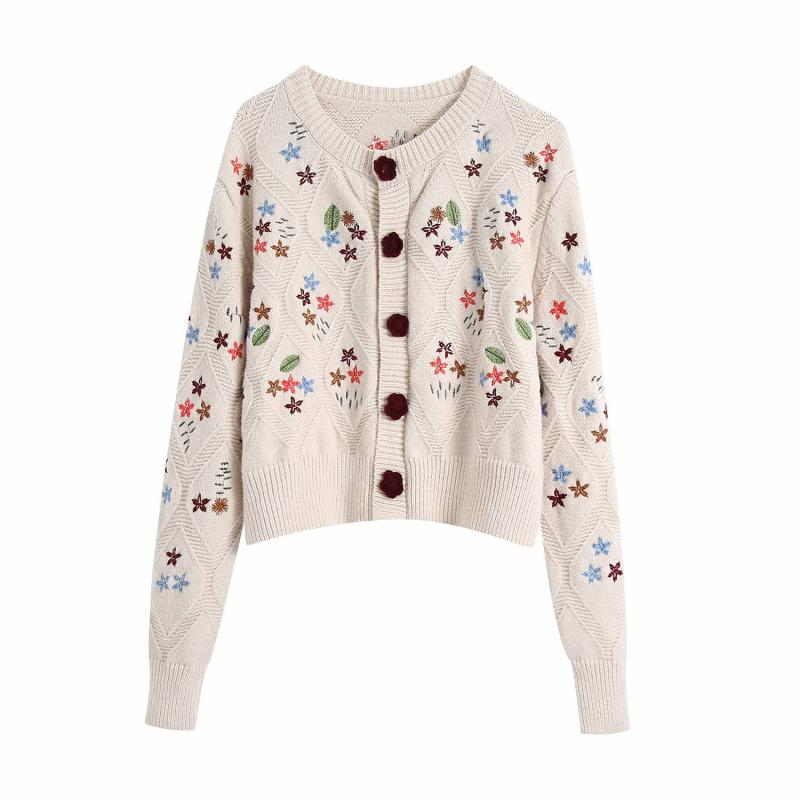 Puwd vintage oversized beige woman embroidered cardigan sweet autumn ladies soft female sweaters loose mesh