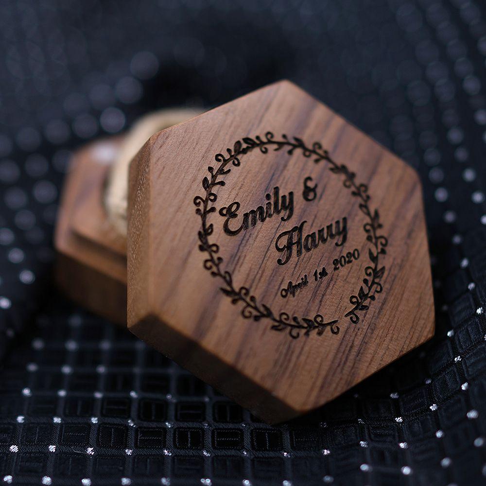 Personalize a caixa do portador de anel personalizada anel de casamento do anel do anel do anel do anel do anel do casamento caixa rústica da festa de casamento al7723