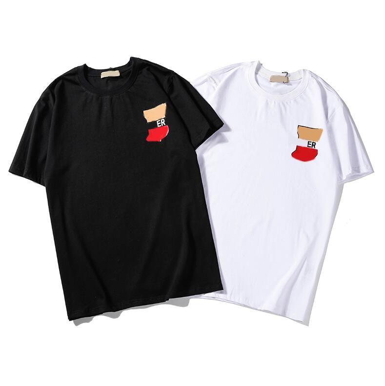 Mens Verão T Com Casual Men Cartas Hot Sale T-shirt de manga curta em torno do pescoço Mulheres Homens T-shirt Moda Shirts 2 Cores