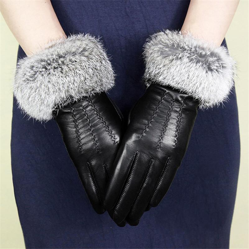 Женские овчины перчатки из натуральной кожи моды наручные волосы вождения перчатки зима удерживают теплый плюс бархат wf16051