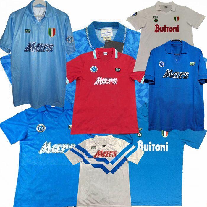 레트로 클래식 1986 1987 1988 1989 1991 1992 1993 Napoli Soccer Jersey 86 87 88 89 90 91 92 93 Camiseta Maillot Maradona 축구 셔츠