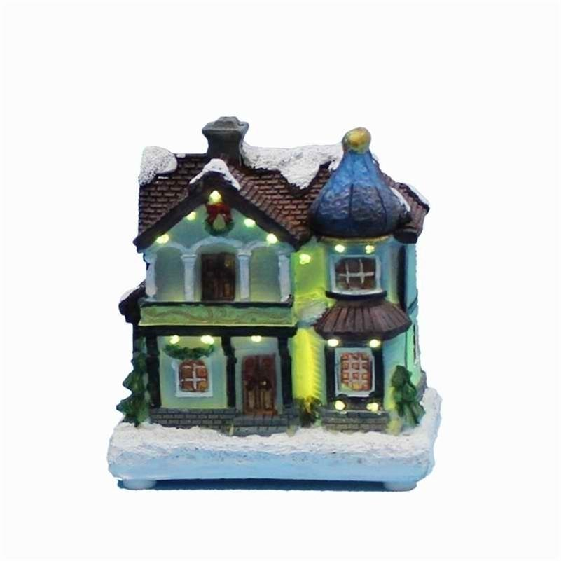 Winter Houses Village with LED Fibre-Optical Light Merry Christmas Decorations for Home Y201020