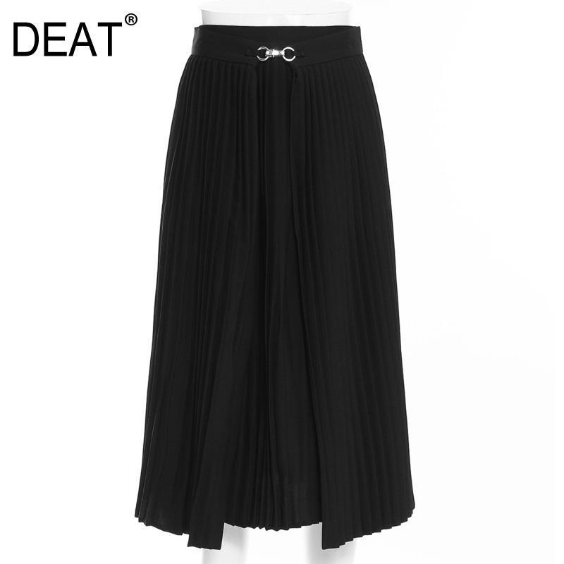 [DRAIER] Jupe plissée de style mûre lumineuse pour femmes longueur genou de la taille haute Y2K Vêtements Noir Jupe Noire 2021 Printemps GX254