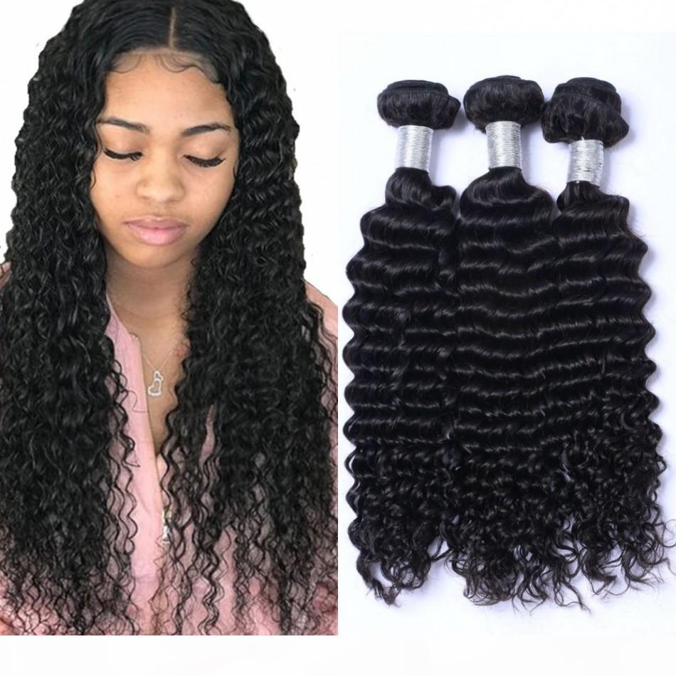 Wave profundo da onda mongol que faz pacotes de cabelo humano 3 feixes curly cabelo extensões 100g pc não transformado trama de cabelo virgem