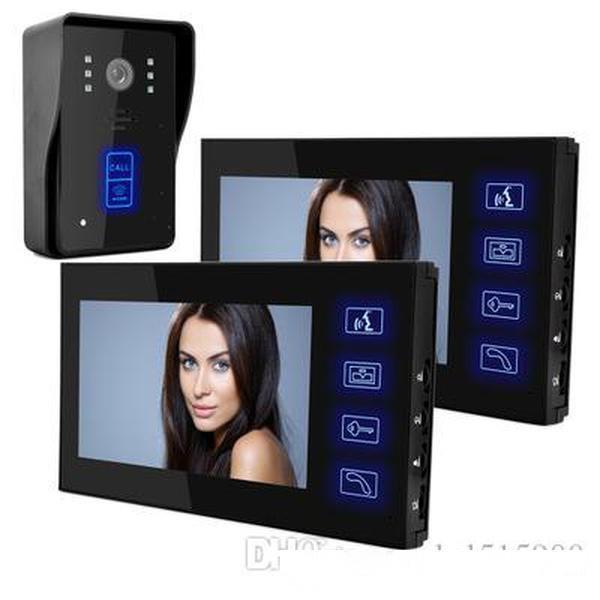 7 pouces haute définition de la sonnette de sonnette tactile tactile vision nocturne vision d'interphone à double sens Swipe fonction une paire deux