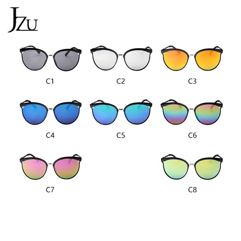 JZU Black Sunglasses Women Men 2020 Fashion Brand Designer Oversized Round Vintage Mirror Lenses Plastic Women Sun Glasses Men Wqits