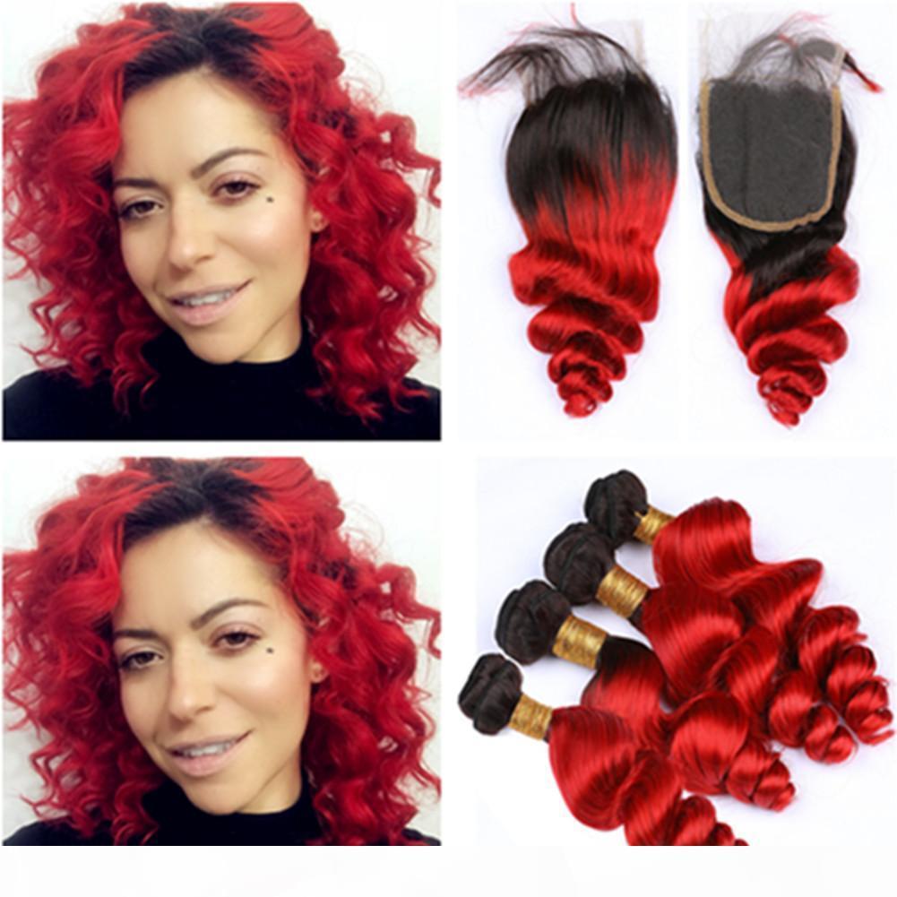 Preto e vermelho brilhante Ombre Virgin Encerramento de cabelo com 4Bundles brasileira solto Aceno # 1B Red Ombre Weaves Humano Pacotes de cabelo com Lace Encerramento