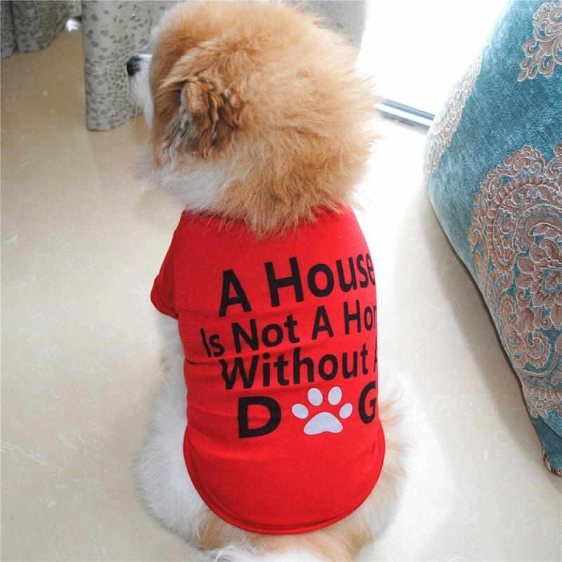 2020 Moda Pet Kaynağı Köpek Giydirme Yavru Pamuk Tişört Kedi Köpek Giysileri T Gömlek 2 Renkler 4 Boyutları
